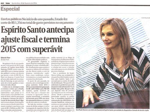 Espírito Santo antecipa ajuste fiscal e termina 2015 com superávit